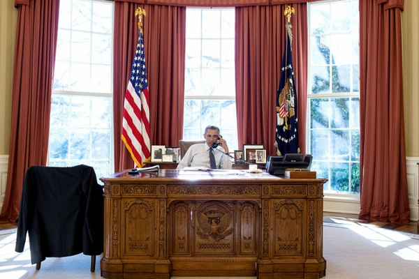 President Barack Obama in the Oval Office.
