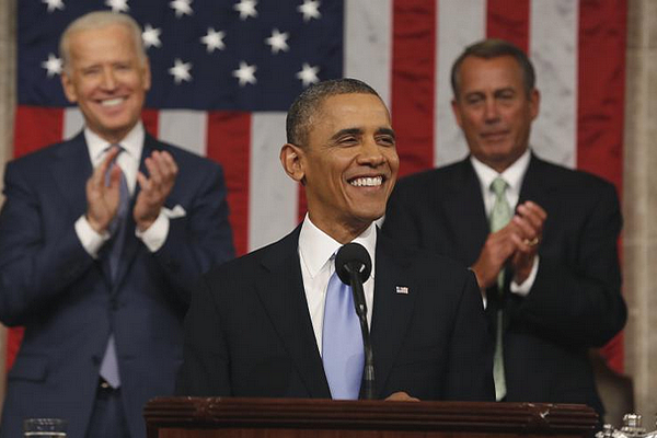 President Barack Obama giving 2015 State of The Union address.
