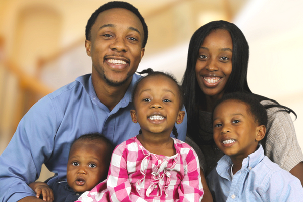 African American Family With 3 Children