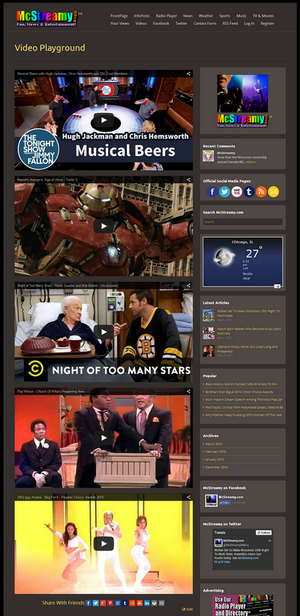 Full page screenshot of the first McStreamy Video Playground page.