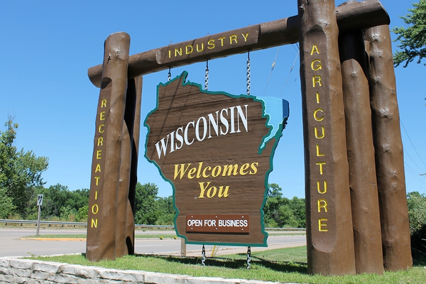 Wisconsin Open for Business welcome sign