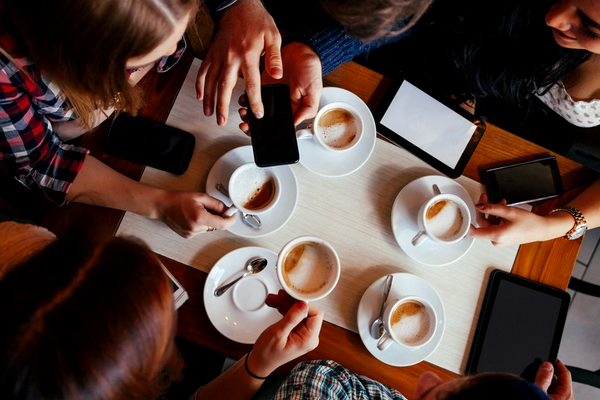Overhead View of Coffee Drinkers at Table
